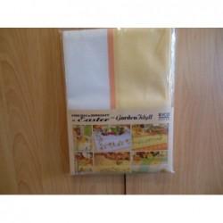 Dekservet geel/wit/oranje  aida borduurrand, 90 x 90 cm
