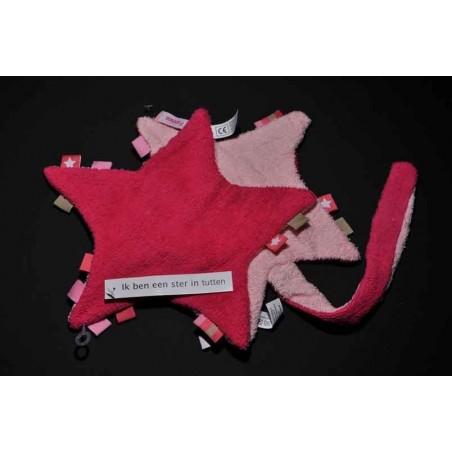Labeldoek ster fuchsia/roze