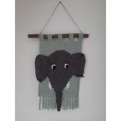 Haakpatroon wandhanger olifant