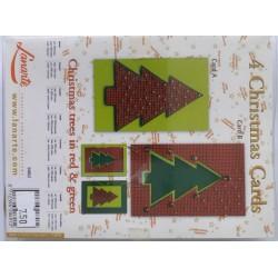Borduren 4 kerstkaarten...