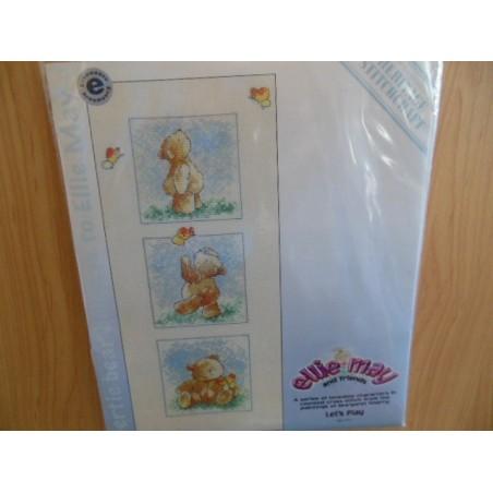 Borduurpakket Ellie- May and friends   3 beertjes 1691.711 25.5 x 11.5cm