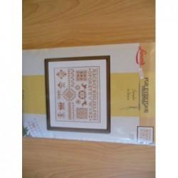 Borduurpakket merklap Sampler in bronsze   Merklap 34906A