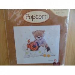 Borduurpakket Popcorn PJ 18   Popcorn beer met hond Biscuit's Bubble Bath Time