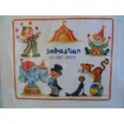 Borduurpakket circus   In het circus Sebastian