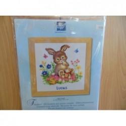 Borduurpakket konijntje Lucas   70.639 19 x 19 cm
