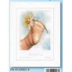 borduurpakket voet met bloem  amelia 0155063 afmeting 13 x 19cm