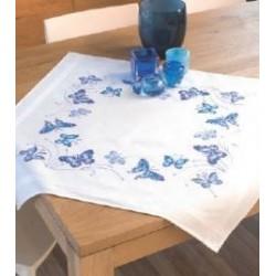 Dekservet blauwe vlinders 145088 80 x 80 cm 100% katoen met garen voorgedrukte kruissteek